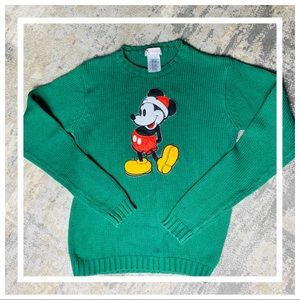 Vintage Embroidered Christmas Mickey knit Sweater
